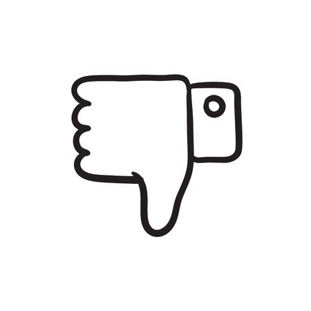disapprove: Thumb down hand sign vector sketch icon isolated on background. Hand drawn Thumb down hand sign icon. Thumb down hand sign sketch icon for infographic, website or app. Illustration
