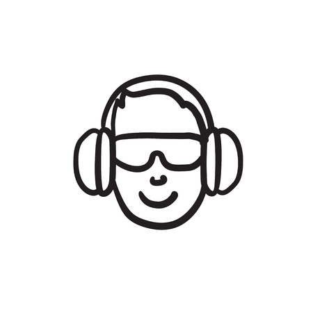 L'uomo in cuffie icona di schizzo vettoriale isolato su sfondo. Uomo disegnato a mano nell'icona delle cuffie. L'uomo in cuffie icona per infographic, sito Web o applicazione.