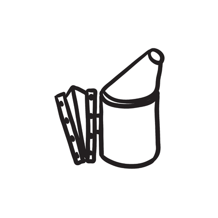 Bee hive smoker sketch icon. Ilustrace