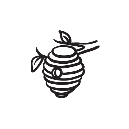 Bee bijenkorf schets pictogram.