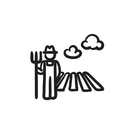 필드 스케치 아이콘에서 갈 퀴와 농부입니다.