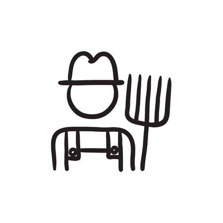 Farmer with pitchfork sketch icon. Stock Illustratie