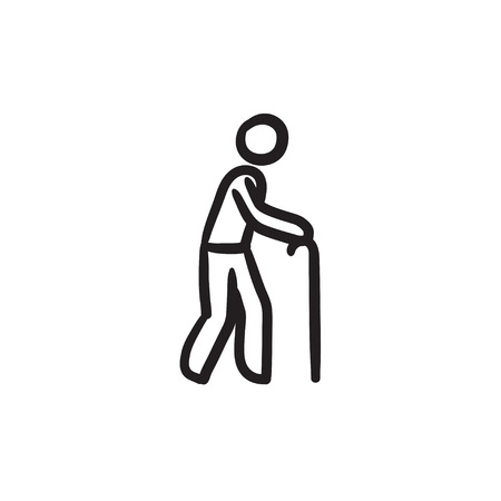 Man with cane sketch icon.