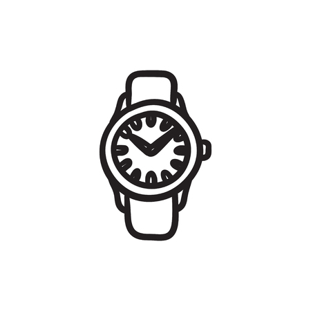 Wrist watch sketch icon. Illustration