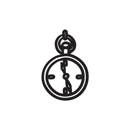 Pocket watch sketch icon. Vectores