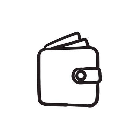 Wallet sketch icon. Ilustração