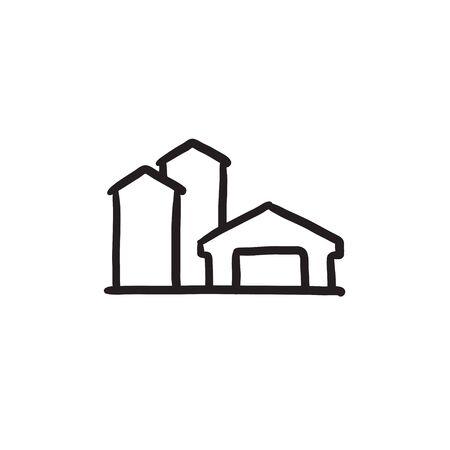 Farm buildings sketch icon.