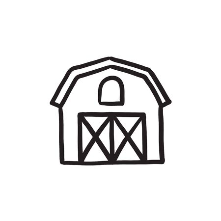 Farm Gebäude Skizze Symbol Standard-Bild - 72557521