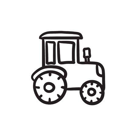 Tractor sketch icon.