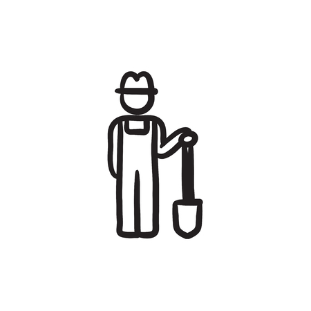 Farmer with shovel sketch icon.