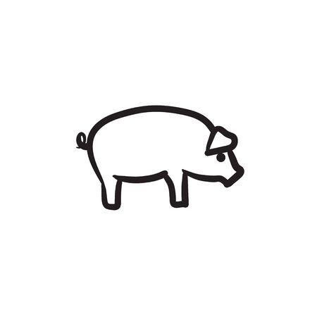 豚スケッチ アイコン。  イラスト・ベクター素材