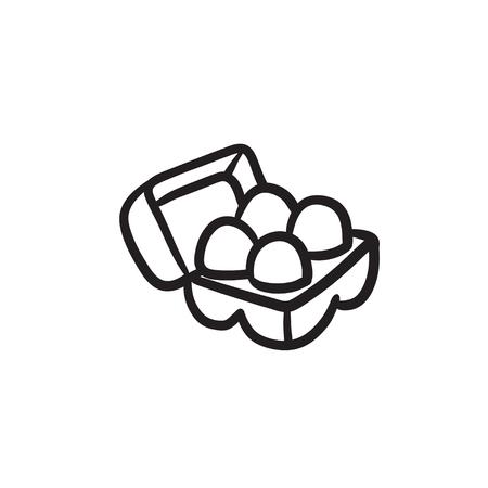 卵のカートンのパッケージには、アイコンをスケッチします。  イラスト・ベクター素材