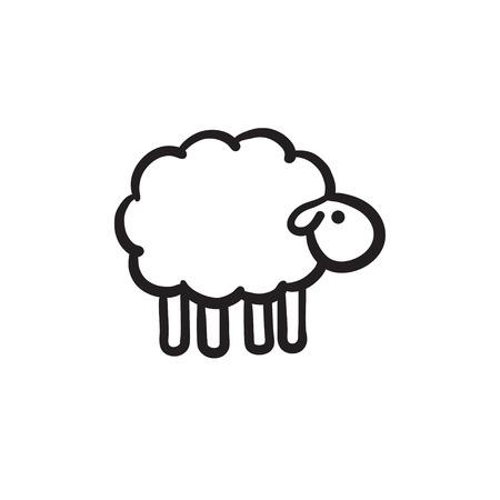 羊は、アイコンをスケッチします。  イラスト・ベクター素材