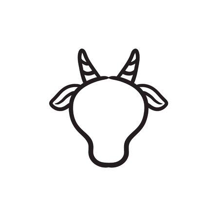 Cow head sketch icon.