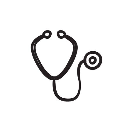 Stethoscope sketch icon.