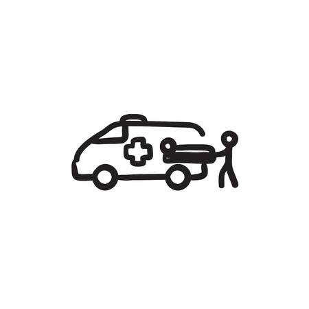 Man with patient and ambulance car sketch icon
