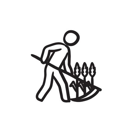 guadaña: Hombre que corta la hierba con el icono de esbozo de guadaña. Vectores
