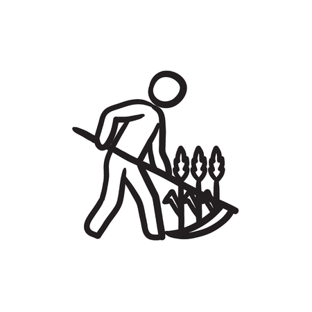 Man mowing grass with scythe sketch icon. Illustration