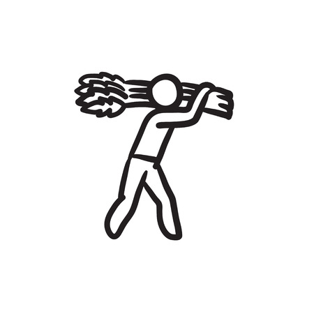 Man carrying wheat sketch icon.