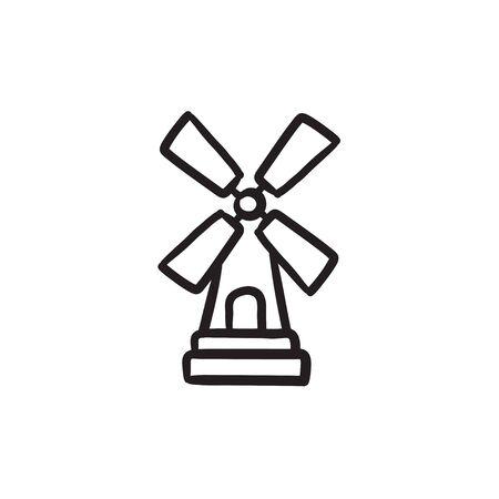 Windmill sketch icon. Illustration