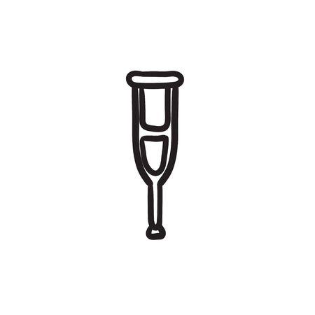 Crutch  sketch icon.