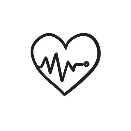 Heart with cardiogram sketch icon. Ilustracja