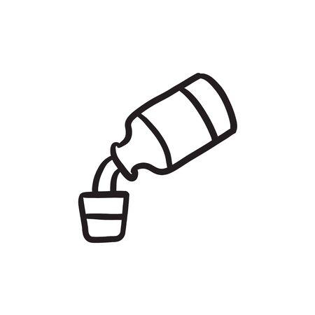 Medicine and measuring cup sketch icon.