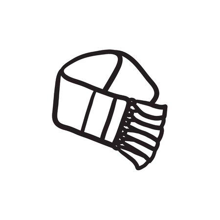 スカーフ スケッチ アイコン。  イラスト・ベクター素材