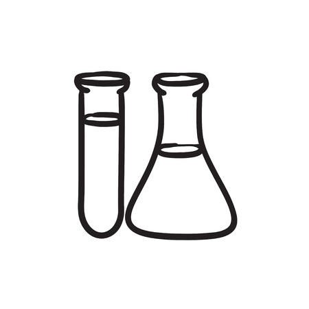 Test tubes sketch icon. Çizim