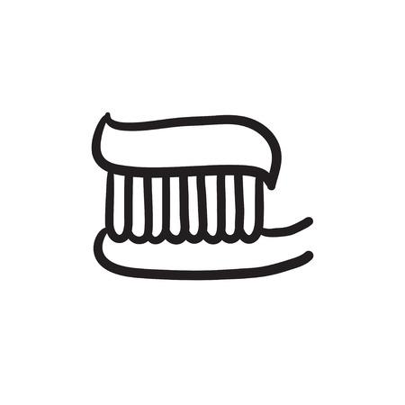 歯ブラシ歯磨き粉スケッチ アイコン。