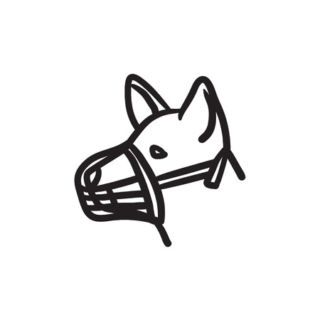 Dog with muzzle sketch icon.
