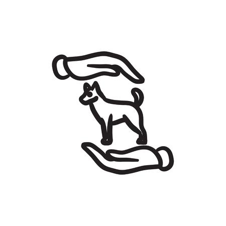 Pet care sketch icon.