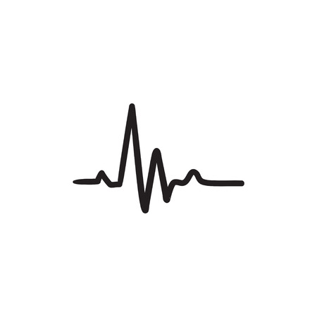 heart beat: Heart beat cardiogram sketch icon. Illustration