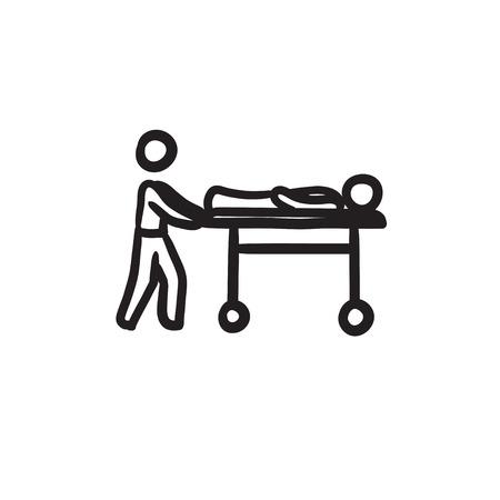 Hombre, empujando, camillas, bosquejo, icono Ilustración de vector