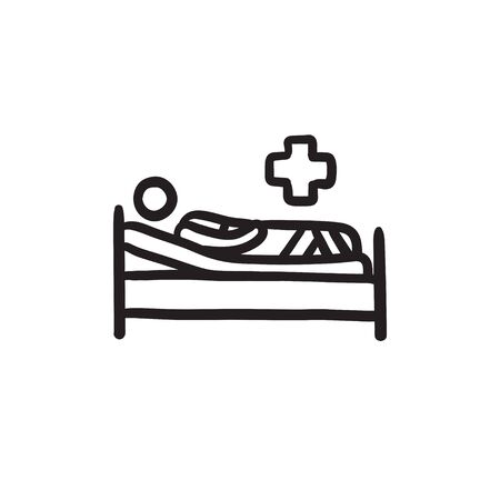 lying in bed: Patient lying on bed sketch icon.