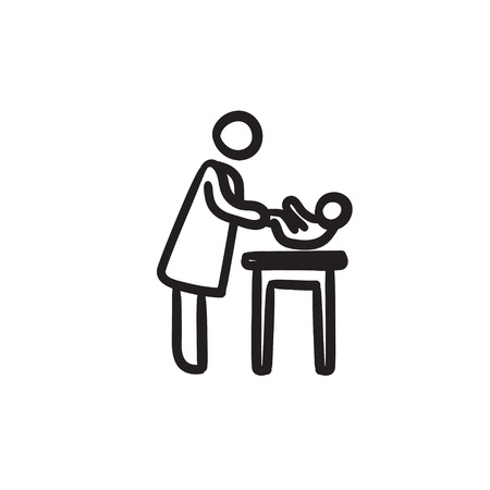 Mother taking care of baby sketch icon. Illustration