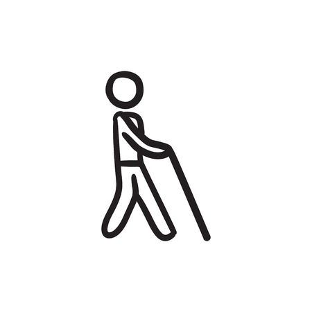 Blind man with stick sketch icon. Illustration