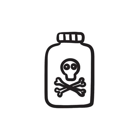 poison bottle: Bottle of poison sketch icon.