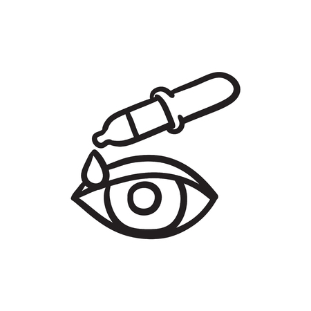 Pipette and eye sketch icon.