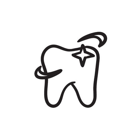 Shining tooth sketch icon.