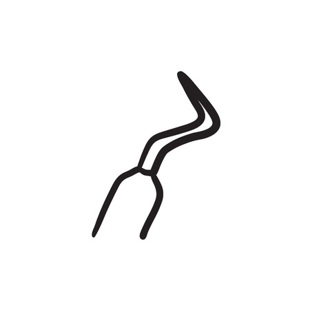 scraper: Dental scraper sketch icon. Illustration