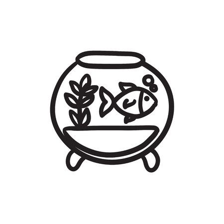 Fish in aquarium sketch icon.