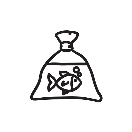 pouch: Fish in plastic bag sketch icon.