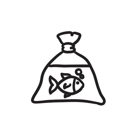 Fish in plastic bag sketch icon.