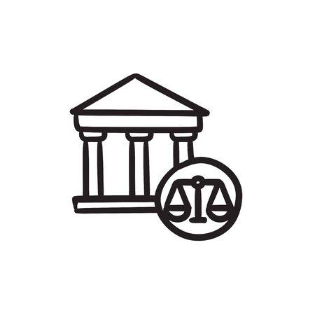 supreme court: Court sketch icon.