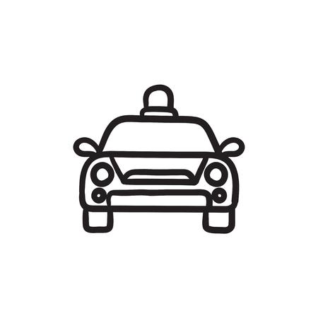 security lights: Police car sketch icon.