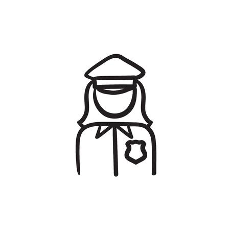 policewoman: Policewoman sketch icon. Illustration