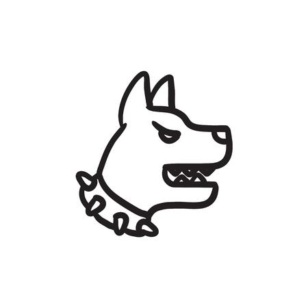 Aggressive police dog sketch icon.