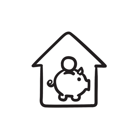 House savings sketch icon. Ilustrace