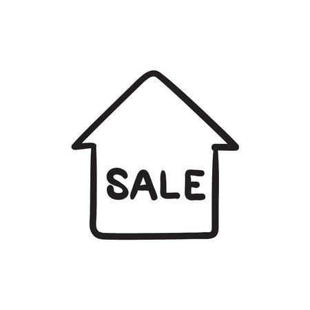 Huis te koop schets pictogram.